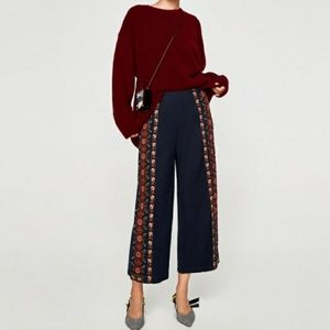 NWT Zara TRF Floral Embroidered Wide Leg Culotte